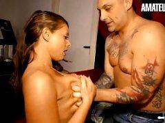 AMATEUR EURO – Cheating Hot MILF Brunette Fucks Tattoo Guy