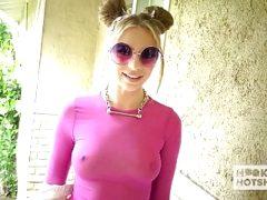 Cute blonde teen Tiffany Watson gets all holes fucked hard