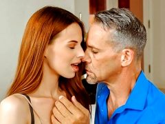 DADDY4K. Teen with red hair rides dick of BF's dad