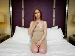E521 – Cute Redhead In Tan Dress