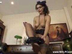 Hot Busty Secretary Roxy Mendez Wanks in Heels Nylons