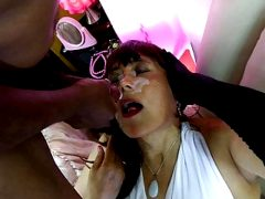 lady in white in anal gangbang with three mistress