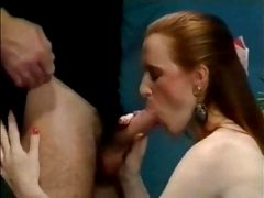 Lady With Long Red Hair Fucks in Black Stockings
