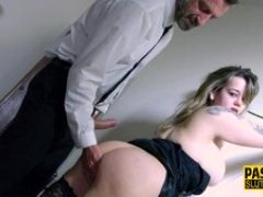 Mouth fucked plump busty sub gets banged