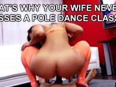 SHE GOES UP AND DOWN ON HIS POLE!