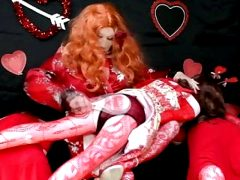 sissy Valentines Day cosplay with 3 blow up dolls part 2