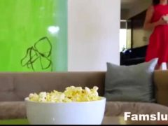 Step-sis And Bro Fuck Behind Mom's Back During Family Movie Night