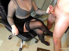 Teen Step Sister Handjob on her Stockings – Cum on Big Tits