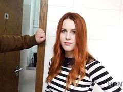 VIP4K. Hunter fucks gorgeous redhead in a public restroom