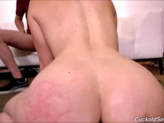 Wife Loves Getting BBC Loads On Her Back And Her Hubby Likes To Clean It Up