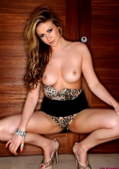 Leah Francis Animal Print Bodysuit With A Tight Skirt